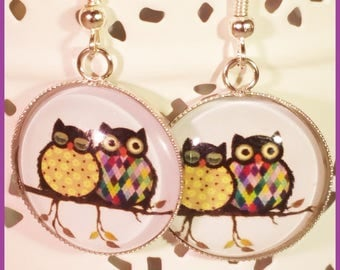 OWL cabochon earrings