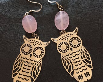Earrings in silver, pink jade beads and OWL prints