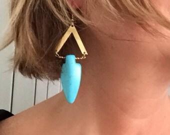 ethnic earrings in Golden brass, Machanou jewelry for her handmade pierced earrings
