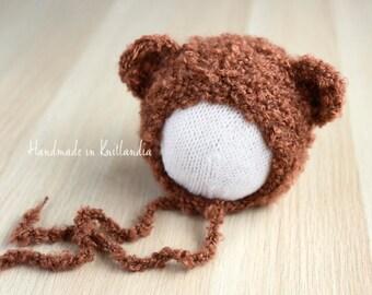 Loopy Hat with Ears, Newborn Bear Hat, Bear Bonnet Photo Prop