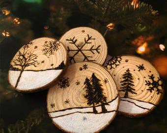 Wood Burned Log Slice - Christmas Tree Decoration 1 Pcs