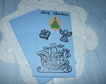 Card embroidered Pearl 235 hand made