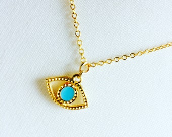 Eye necklace - openwork protective eye - gold plated pendant - glamour - Bohemian - Miss vk