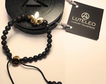 LUTELEO Black Lava Bead Fleur-de-Lie 24K Gold Plated Adjustable