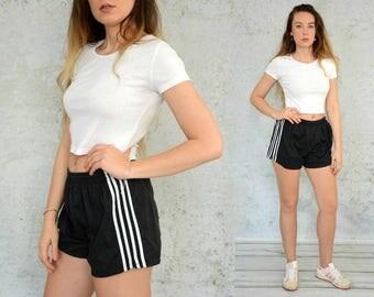 Sport shorts vintage running black white High waisted hipster jogging L Large