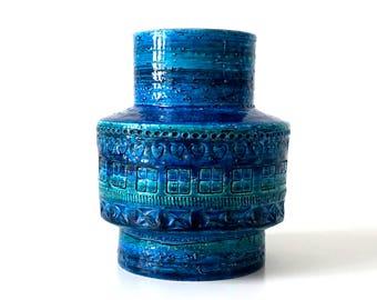 Vintage 1960's Bitossi Rimini Blu Cylinder Vase - Aldo Londi - Mid Century Modern - Rimini Blue