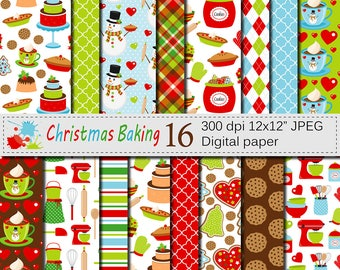 Christmas Baking Digital Paper with christmas cookies, christmas cakes and kitchen utensils, Christmas Holiday Scrapbook Paper Download