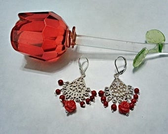 Red coral rose   Etsy