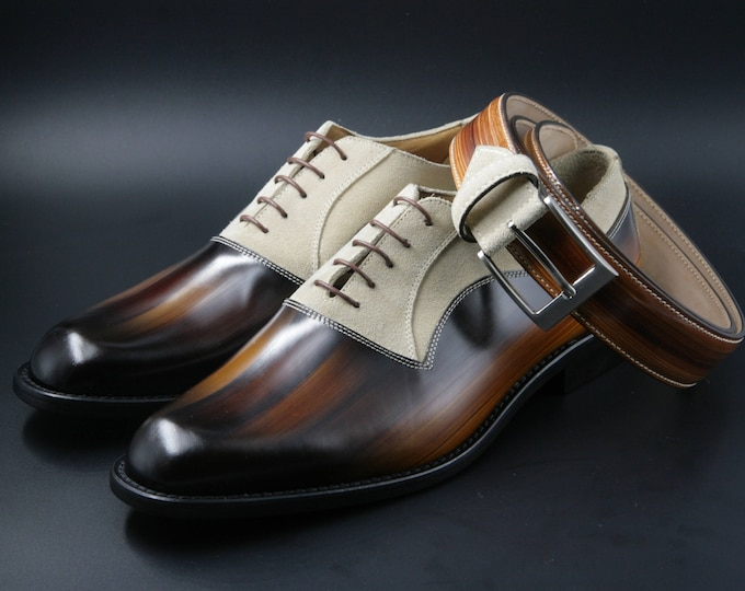 Leather man patina shoes, wood effect, beige suede, Oxford, hand painted (made in Italy)