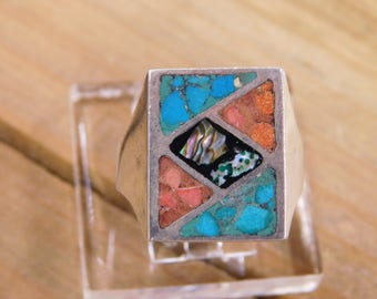 Men's Sterling Silver Turquoise and Coral Inlay Ring