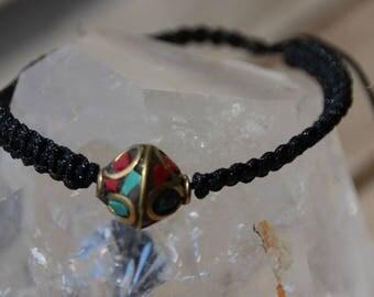 ethnic shamballa bracelet with Tibetan turquoise and coral bead