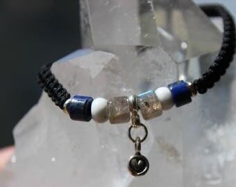 labradorite and lapis bead shamballa bracelet