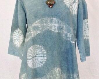 Indigo tunic with nui shibori stitch