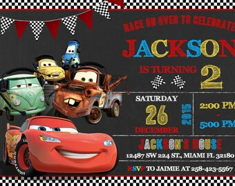 Disney Cars Invitation Birthday Disney Cars Party