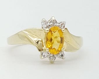 Vintage Orange Citrine & Diamond Ring in 10K Yellow Gold
