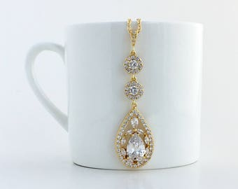 Long Gold Bridal Necklace Gold Crystal Necklace Gold Wedding Crystal Pendant Gold Teardrop Crystal Necklace Gold Bridesmaid Crystal Jewelry