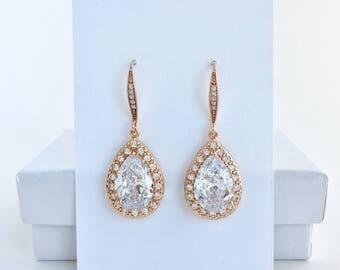 Rose Gold Bridal Earrings Rose Gold Crystal Earrings Rose Gold Wedding Earrings Rose Gold Zirconia Earrings Rose Gold Bridesmaid Jewelry