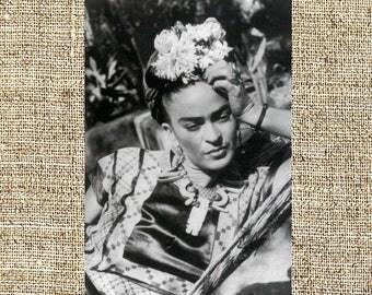 Frida Kahlo photograph, Frida black and white photo print, Kahlo vintage photograph, art style icon, framed photograph
