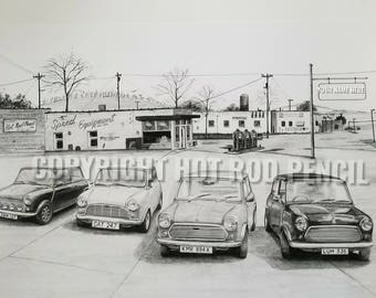 Mini Cooper, personalized Pencil Drawing Print