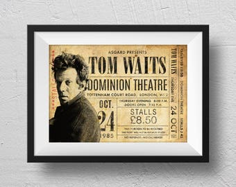 Tom Waits Poster, Tom Waits Ticket, concert poster, Tom Waits concert, retro concert poster, Tom Waits souvenir. original design