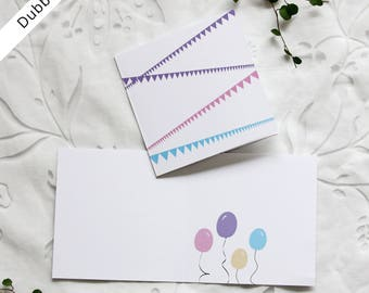 Greeting card, double (12x12 cm), with pennants and balloons. Birtdays, baptism, baby shower. Inbjudningskort, barnkalas.