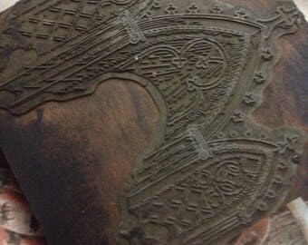 Antique Metal and Wood Stamp Christian of Cathedral Arch Archway GOTHIC