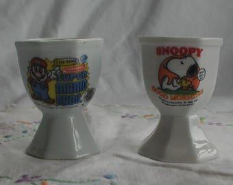 Set of 2 Vintage Egg Cups Snoopy Super Mario Bros