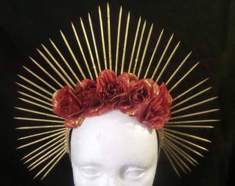 One of a Kind Gold Spike Red Rose with Glitter Crown