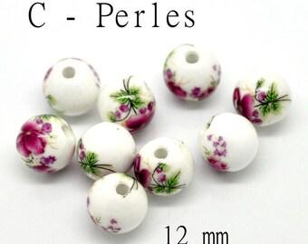 2 flowers pink Fuchsia 12 mm ceramic beads