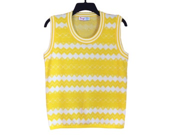 Vintage 60's Penrose Yellow and White Zigzag Print Sweater Vest Small/Medium FREE SHIPPING!