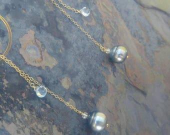 Tahitian Pearl Statement Earrings in Pale Blue, something blue, wife gift, bohemian wedding, hoop earrings, geometric earrings