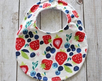 Strawberry and Blueberry Baby Bib