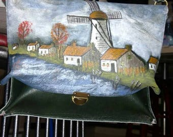 """Genuine Leather cross body bad with painting 11.5""""*10"""""""