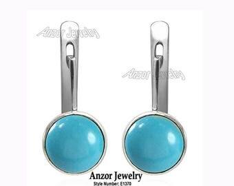 14k Solid White Gold Genuine Turquoise lever-back Earrings    E1370