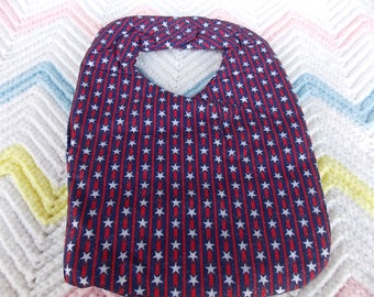 HANDMADE BABY INFANT Bib Patriotic Red White and Blue Stars and Stripes