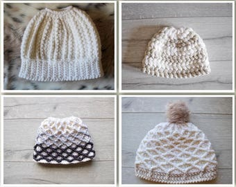 Hat Pattern Bundle, Messy Hair Bun Hat, Bun Hat, Crochet Patterns, Patterns, Crochet Pattern, Chunky Crochet Pattern, Puff Stitch Pattern,