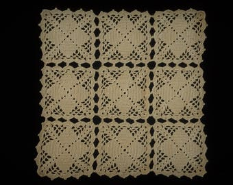 Crocheted Lace Doily. Vintage Lace Doily. Square Ecru (Natural Cotton Colour) Vintage Crochet Lace Doily. Handmade Crocheted Doily RBT3028