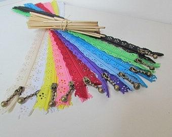 10 35 cm - not separable serrated - 10 colors-nylon - 4.59 zipper closure