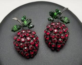 Vintage Red Berry Earrings