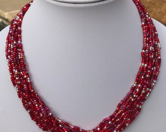 Red Multistrand Seed Bead Necklace
