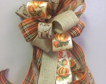 Fall Bow for Wreath, Door or Mantel