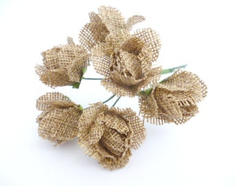 "Rustic Burlap Roses_PA00215/86547_ Flowers_ Rustic brown burlap flowers of 30/35 mm _ 1,37""_ pack 6 flowers"