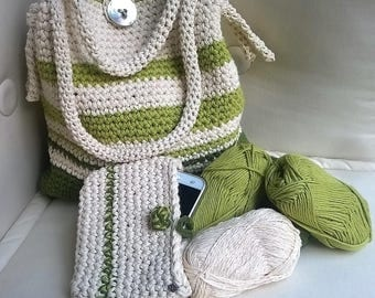 Crochet handmade cotton bag made of cotton bag, bag, crochet summer bag