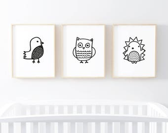 Woodland Nursery Art, Woodland Animals Print Set, Owl, Hedgehog, Bird, Cute Animals Nursery Decor, Gender Neutral Nursery Wall Art Prints