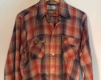 70s Levis paper thin plaid western shirt// Hipster grunge button down// Men's size medium M