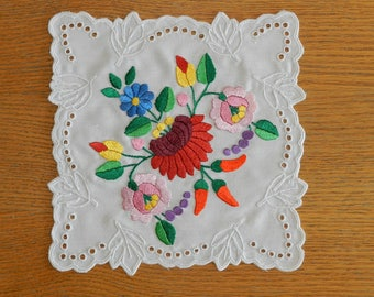 Kalocsa embroidery doily, Decor accessories, Hand embroidered doily, Hungarian folk art