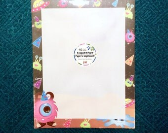 "1 New Pack of 40 Sheet Letterhead Computer Printer Paper. Birthday Party Monsters Border, 8.5"" x 11"". Laser & Ink Jet Compatible."