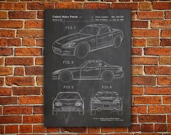 Honda S2000 Patent Canvas painting,Sportcar Blueprint,Honda S2000 Print,Honda S2000 Poster,Honda Car Blueprint,Honda S2000,Honda Car