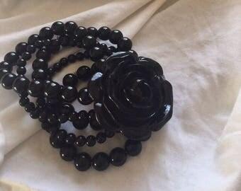 Black Beaded Rose Bracelet  Art Deco style