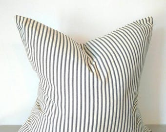 Farmhouse pillows, French farmhouse black ticking pillow cover, French country rustic ticking pillow farmhouse decor, rustic decor, ticking